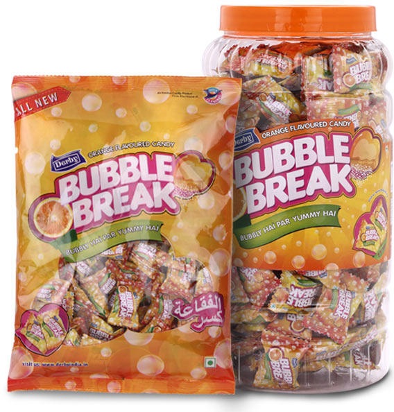bubble break, orange flavoured candy