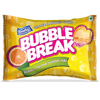bubblebreak, orange flavour candy, mango flavour candy, center filled candy, heart shape candy, powdered candy, derby india, confectionery packaging design, brij design studio, suncrest food maker, mumbai, india, wholesale candies, candy lollipop manufacturer