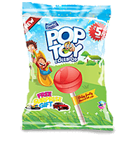 pop toy, fruit flavoured lollipop, derby india, confectionery packaging design, brij design studio, suncrest food maker, mumbai, india, wholesale lollipops, lollipop manufacturers