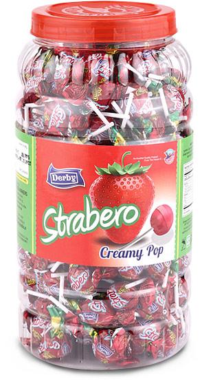 strabero, strawberry flavoured lollipop