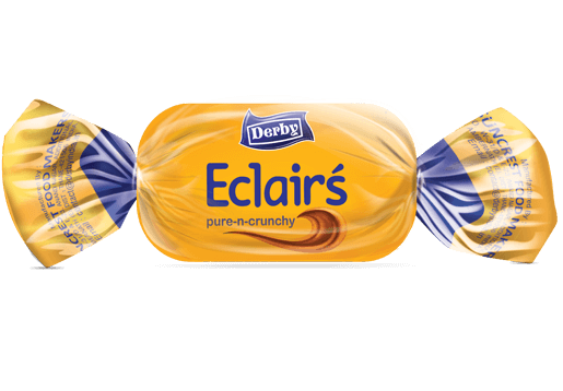 golden eclairs, milk flavour eclairs, crunchy eclairs, derby india, confectionery packaging design, brij design studio, suncrest food maker, mumbai, india, wholesale candies, candy lollipop manufacturer, confectionery products
