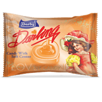darling orange,orange flavour candy, center filled candy, heart shape candy, derby india, confectionery packaging design, brij design studio, suncrest food maker, mumbai, india, wholesale candies, candy lollipop manufacturer