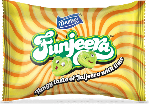 funjeera, jaljeera lime flavour candy, center filled candy, heart shape candy, derby india, confectionery packaging design, brij design studio, suncrest food maker, mumbai, india, wholesale candies, candy lollipop manufacturer, confectionery manufacturers