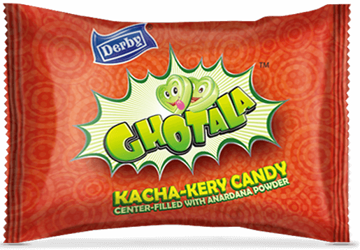 ghotala, kacha kery flavour candy, mango flavour candy, center filled candy, heart shape candy, powdered candy, derby india, confectionery packaging design, brij design studio, suncrest food maker, mumbai, india, wholesale candies, candy lollipop manufacturer, confectionery manufacturers