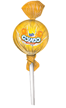 golado, orange flavoured lollipop, center filled lollipop